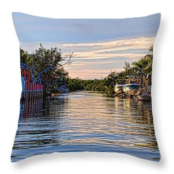 Key Largo Canal Throw Pillow by Chris Thaxter