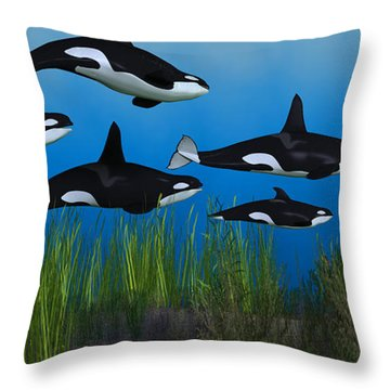 Killer Whale Pod Throw Pillow by Corey Ford