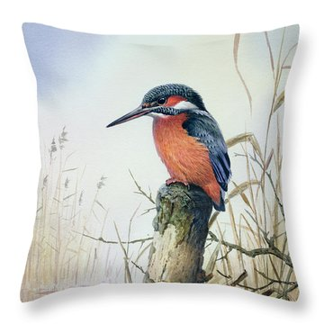 Kingfisher Throw Pillow by Carl Donner