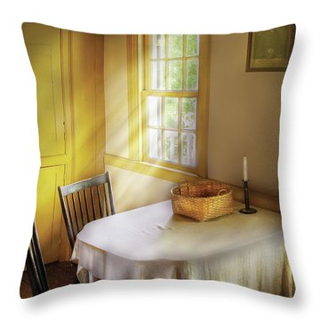 Kitchen - The Empty Basket Throw Pillow by Mike Savad