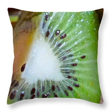 Kiwi Seed Display Throw Pillow by Gwyn Newcombe