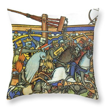 Knights Templar 13th Century Throw Pillow by Photo Researchers