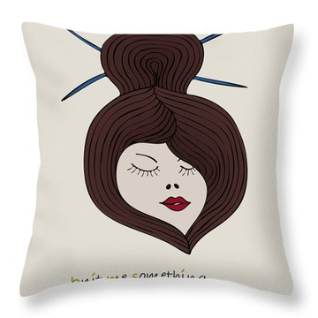 Throw Pillow featuring the drawing Knitty Girl by Frank Tschakert