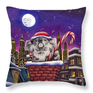 Koala In Chimney Throw Pillow by Remrov