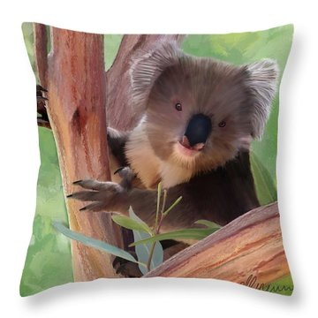 Koala  Painting Throw Pillow by Michael Greenaway