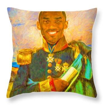 Kobe Bryant Floor General Digital Painting La Lakers Throw Pillow by David Haskett