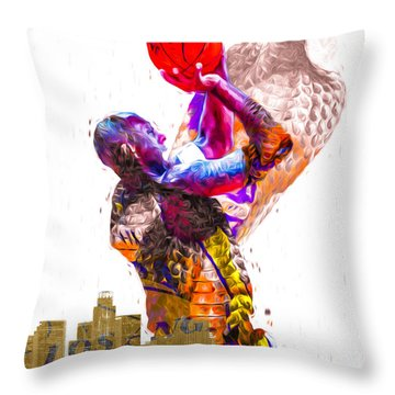 Kobe Bryant Los Angeles Lakers Digital Painting Snake 1 Throw Pillow by David Haskett