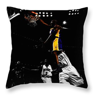 Kobe Bryant On Top Of Dwight Howard Throw Pillow by Brian Reaves