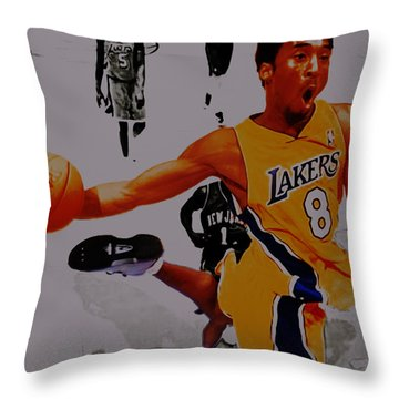 Kobe Bryant Taking Flight 3a Throw Pillow by Brian Reaves