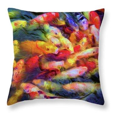 Koi Pond Throw Pillow by Jon Woodhams