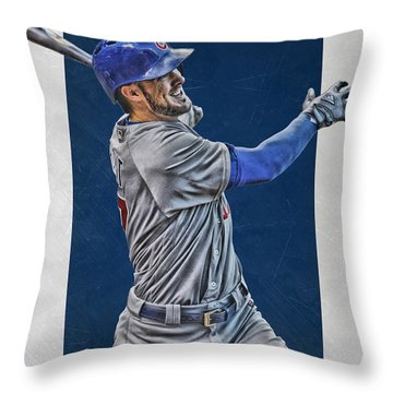Kris Bryant Chicago Cubs Art 3 Throw Pillow by Joe Hamilton