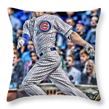 Kris Bryant Chicago Cubs Throw Pillow by Joe Hamilton