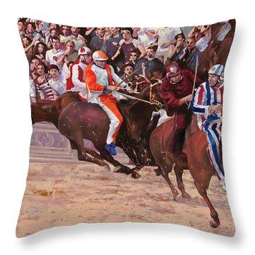 La Corsa Del Palio Throw Pillow by Guido Borelli