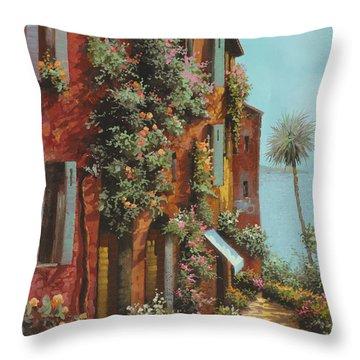 La Strada Verso Il Lago Throw Pillow by Guido Borelli