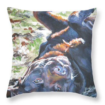 Labrador Retriever Chocolate Fun Throw Pillow by Lee Ann Shepard