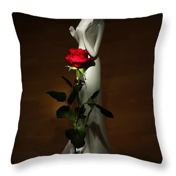 Lady And Rose Throw Pillow by Svetlana Sewell