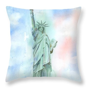 Lady Liberty Throw Pillow by Arline Wagner
