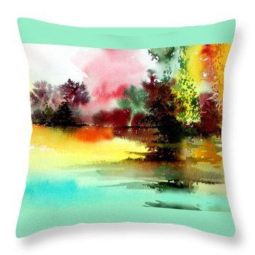 Lake In Colours Throw Pillow by Anil Nene