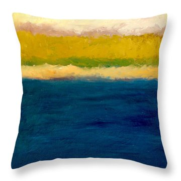 Lake Michigan Beach Abstracted Throw Pillow by Michelle Calkins
