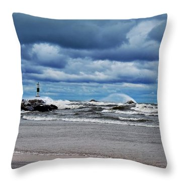 Lake Michigan With Big Wind  Throw Pillow by Michelle Calkins