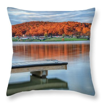 Autumn Red At Lake White Throw Pillow by Jaki Miller
