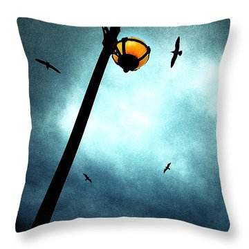Lamps With Birds Throw Pillow by Meirion Matthias
