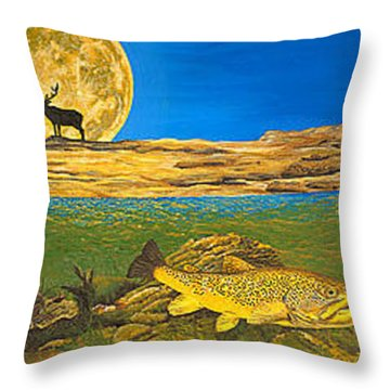 Landscape Art Fish Art Brown Trout Timing Bull Elk Full Moon Nature Contemporary Modern Decor Throw Pillow by Baslee Troutman