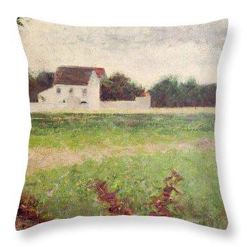 Landscape In The Ile De France Throw Pillow by Georges Pierre Seurat