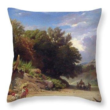 Landscape On The Outskirts Of Rome Throw Pillow by Jean Achille Benouville