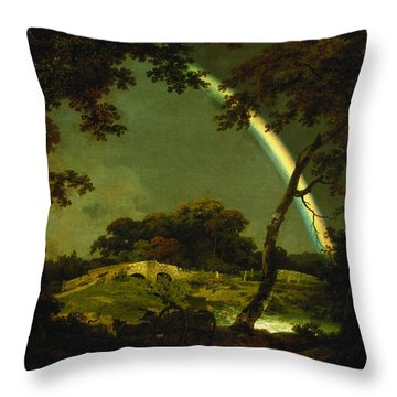 Landscape With A Rainbow Throw Pillow by Joseph Wright of Derby