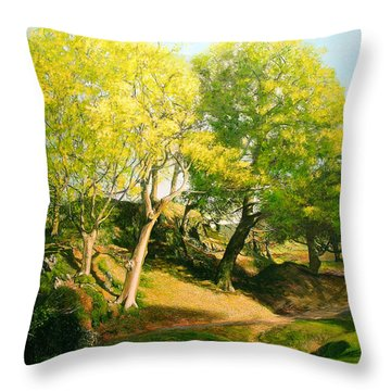 Landscape With Trees In Wales Throw Pillow by Harry Robertson