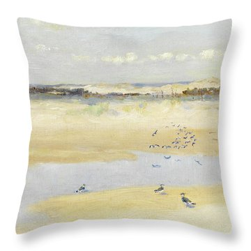 Lapwings By The Sea Throw Pillow by William James Laidlay