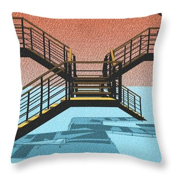 Large Stair 38 On Cyan And Strange Red Background Abstract Arhitecture Throw Pillow by Pablo Franchi