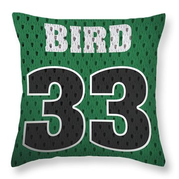 Larry Bird Boston Celtics Retro Vintage Jersey Closeup Graphic Design Throw Pillow by Design Turnpike