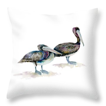 Laurel And Hardy, Brown Pelicans Throw Pillow by Amy Kirkpatrick