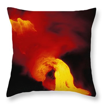 Lava Into The Sea Throw Pillow by Allan Seiden - Printscapes