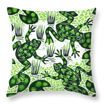Leaping Frogs Throw Pillow by Nat Morley