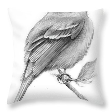 Least Flycatcher Throw Pillow by Greg Joens
