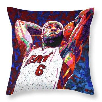 Lebron Dunk Throw Pillow by Maria Arango