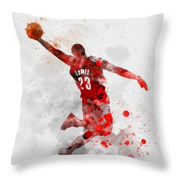 Lebron James Throw Pillow by Rebecca Jenkins