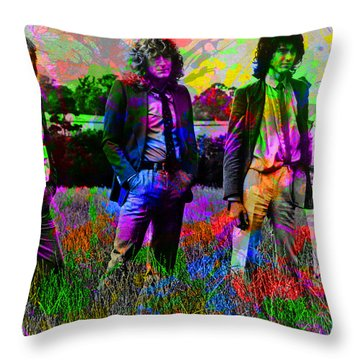 Led Zeppelin Band Portrait Paint Splatters Pop Art Throw Pillow by Design Turnpike