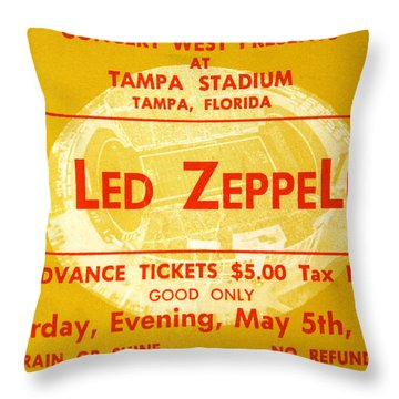 Led Zeppelin Ticket Throw Pillow by David Lee Thompson