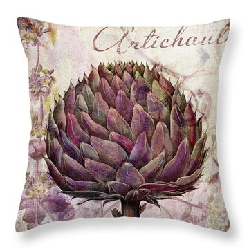 Legumes Francais Artichoke Throw Pillow by Mindy Sommers