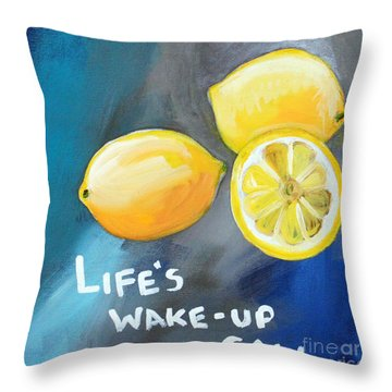 Lemons Throw Pillow by Linda Woods