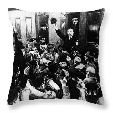 Lenin At Finland Station Throw Pillow by Granger