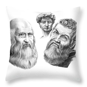 Leonardo And Michelangelo Throw Pillow by Murphy Elliott