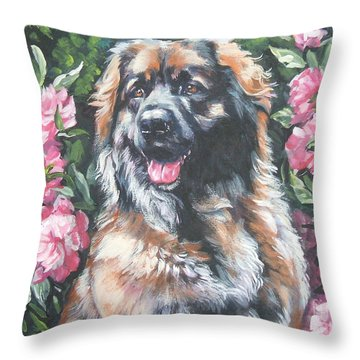 Leonberger In The Peonies Throw Pillow by Lee Ann Shepard