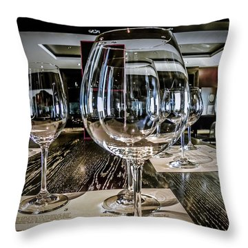 Let The Wine Tasting Begin Throw Pillow by Julie Palencia