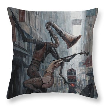 Life Is  Dance In The Rain Throw Pillow by Adrian Borda