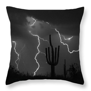 Lightning Storm Saguaro Fine Art Bw Photography Throw Pillow by James BO  Insogna
